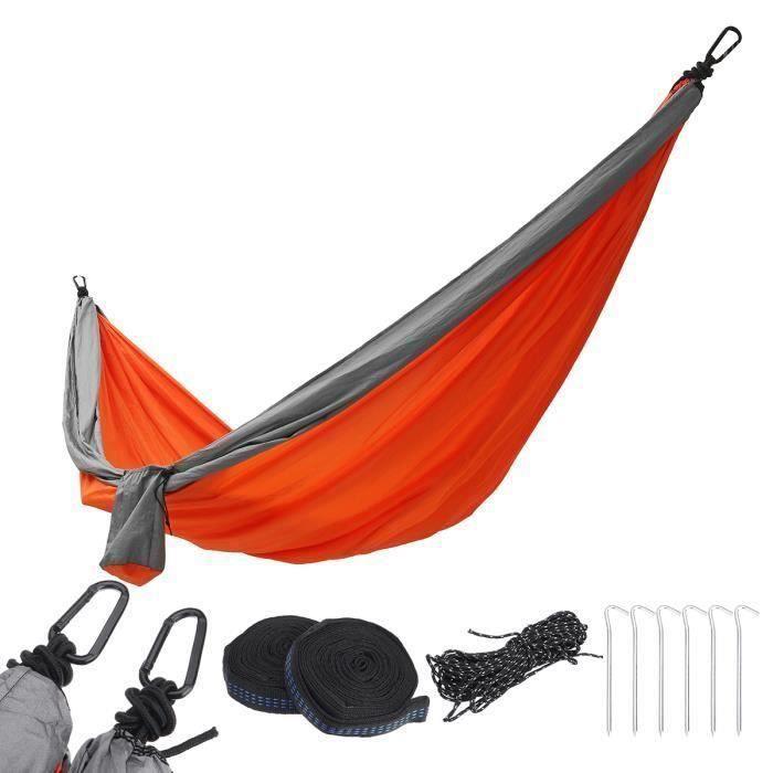 Hamac 2 Personnes 300x200cm Toile Nylon 210T Pour Patio Camping Jardin Orange ma30370
