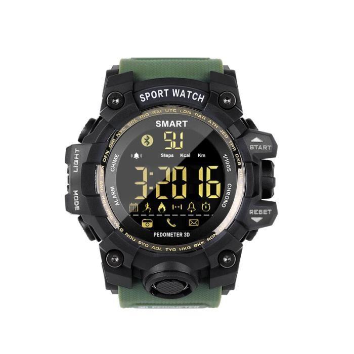 Montre connectée,COXRY Camouflage montre militaire numérique en cours d'exécution montre intelligente hommes Sport - Type green