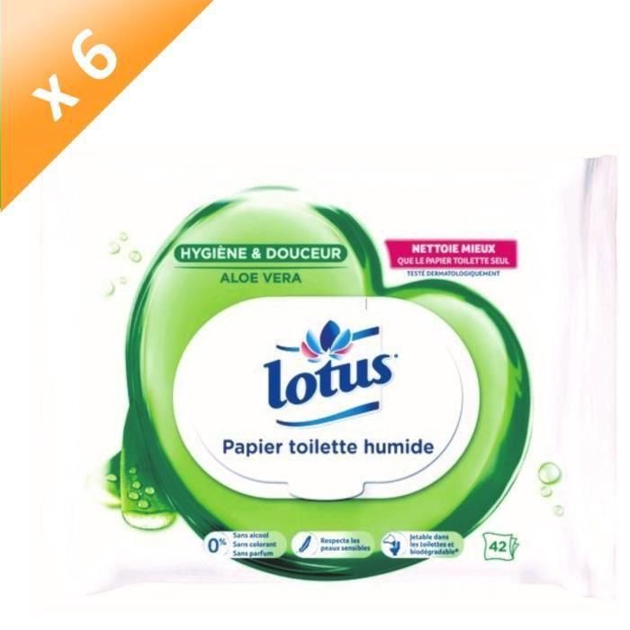[LOT DE 6] LOTUS Papiers toilette humide - Aloe douceur - 42 feuilles