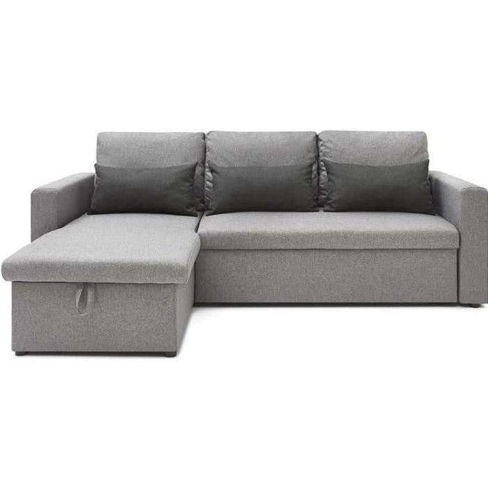 Canapé d'angle réversible convertible 3 places en tissu gris anthracite + coffre de rangement - Collection Lauren