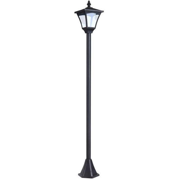 Luminaire extérieur solaire lampadaire lanterne classique LED 10 Lm dim. 15L x 15l x 120H cm noir 07 15x15x120cm Noir