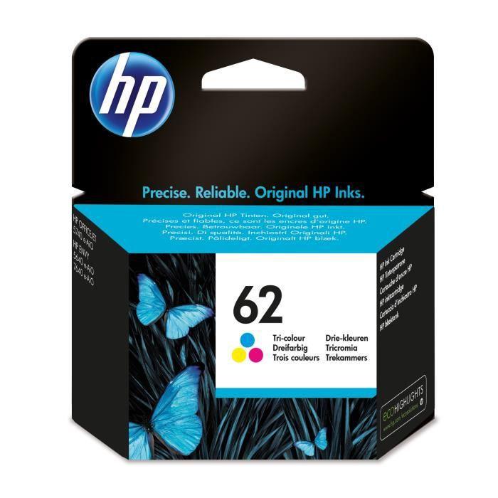 HP 62 cartouche d'encre trois couleurs authentique pour HP Envy 5540/5640/7640 (C2P06AE)