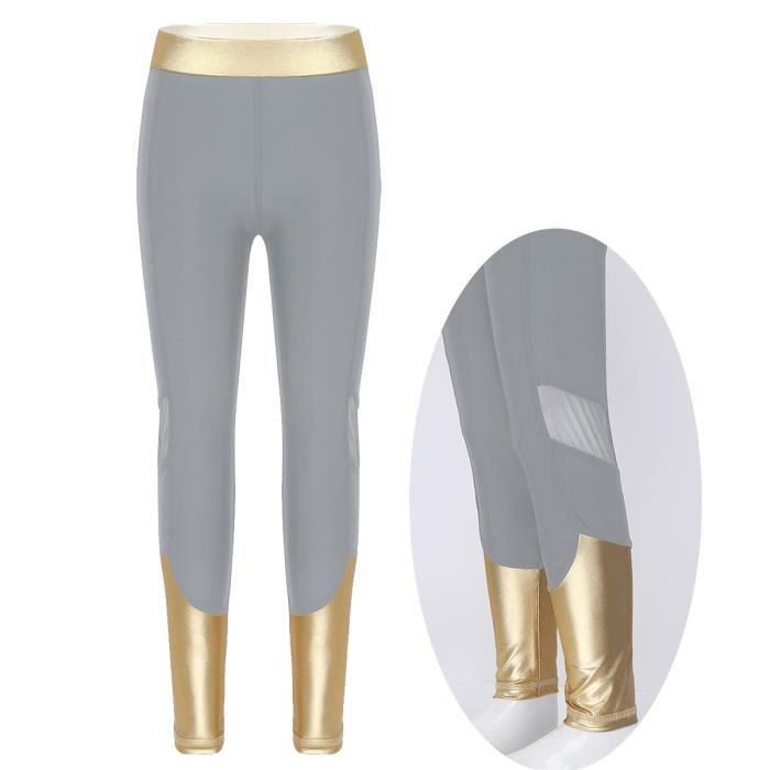 Pantalon de Sport Fille Enfant Collants de Danse Minceur Legging de Danse Running Combinaison Gym Fitness Survetement 3-14 Ans