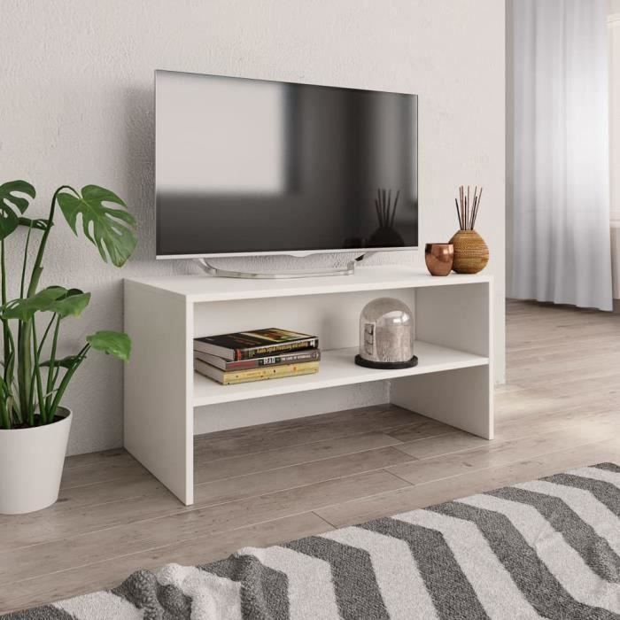 Meuble TV scandinave Meuble HI-FI Contemporain Blanc 80 x 40 x 40 cm Aggloméré