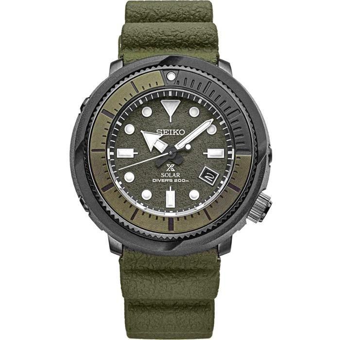 Montre Bracelet SEIKO A9HB5 Solaire Diver SNE535 Camo Vert Silicone Rubber Band Chronographe Camo Vert Quartz Cadran