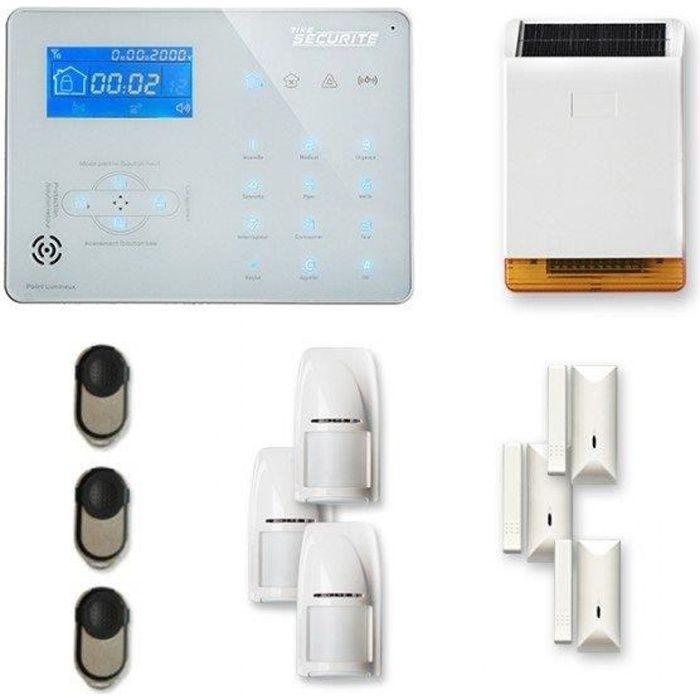 Alarme maison sans fil ICE-B 3 à 4 pièces mouvement + intrusion + sirène extérieure solaire - Compatible Box / GSM