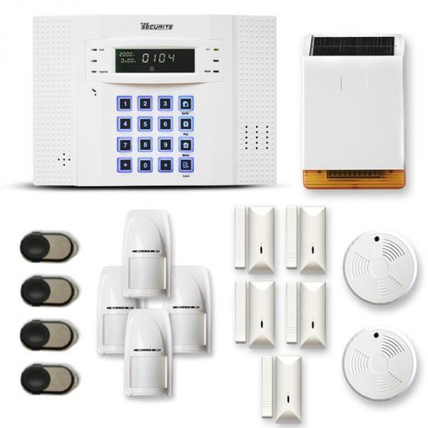 Alarme maison sans fil DNB 4 à 5 pièces mouvement + intrusion + détecteur de fumée + sirène extérieure solaire - Compatible Box / GS