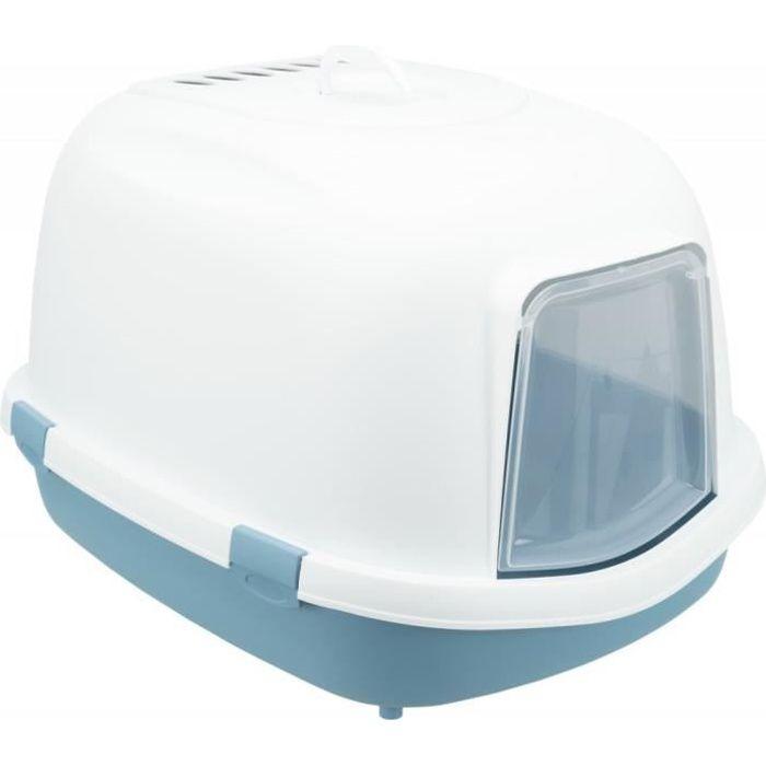 TRIXIE Bac à litière Primo Top avec couvercle - XXL - 56 x 47 x 71 cm - Bleu et blanc - Pour chat