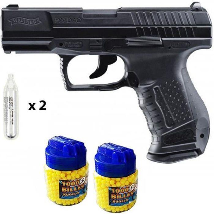 Walther P99 DAO Pistolet à billes CO2 métal + 2000 billes + 2 caps CO2 - Airsoft