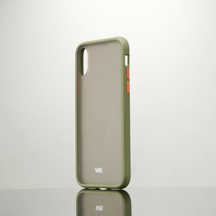 Coque caoutchouc WE pour smartphone Apple iPhone X/XS - Kaki Anti-choc, traitement anti-buée et anti-empreinte KAKI