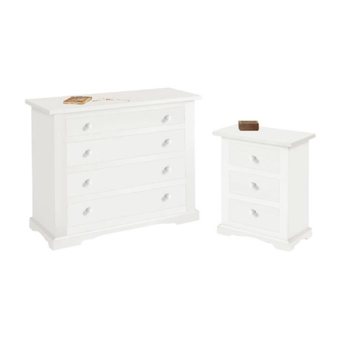 Ensemble de chambre coucher compos de commode e 2 table for Ensemble de chambre