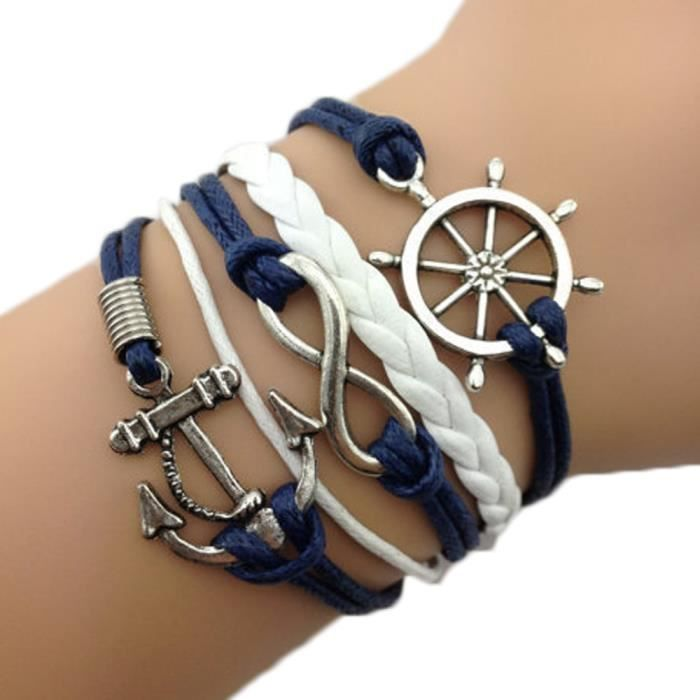 bracelet infini marin roue ancre bleu et blanc achat. Black Bedroom Furniture Sets. Home Design Ideas