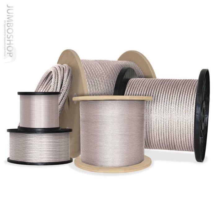 20m 8mm Câble en acier 6x19 câble en acier galvanisé Câble levage acier galvanis