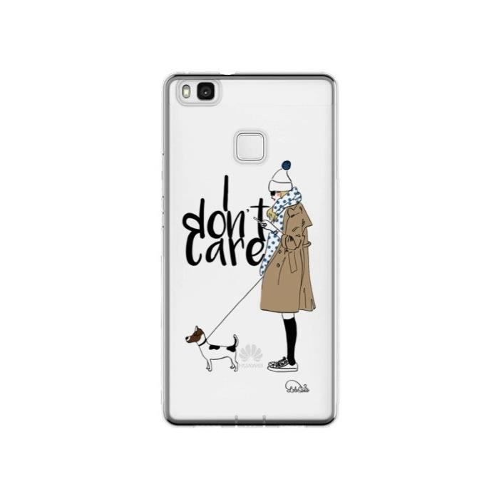Coque Huawei P9 Lite I don't care Fille Chien Tran