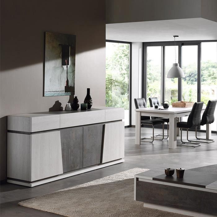 Salle à manger moderne couleur chêne blanc et gris DALIE 180 cm Avec 1  rallonge 180 Cm