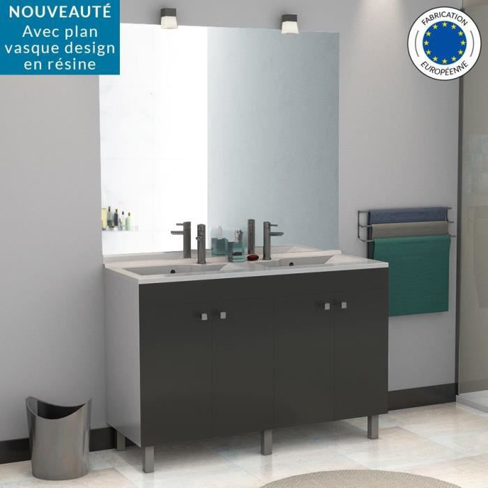 meuble salle de bain double vasque lagune porto 120 gris brillant 120 profondeur 46. Black Bedroom Furniture Sets. Home Design Ideas