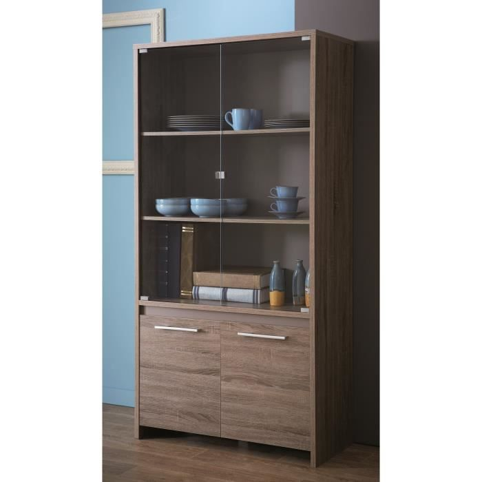 steen vitrine coloris ch ne fonc et basalte achat. Black Bedroom Furniture Sets. Home Design Ideas