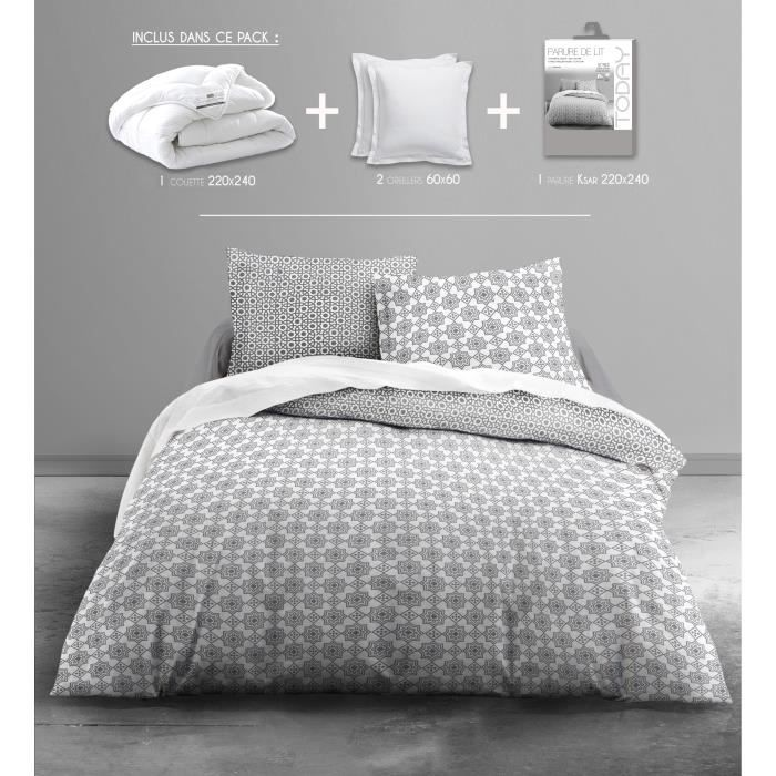 today pack linge de lit adulte ksar 1 couette 220x240cm