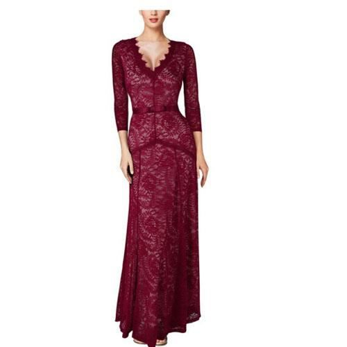 Floral Lace 2/3 manches longues Maxi Dress Rounge