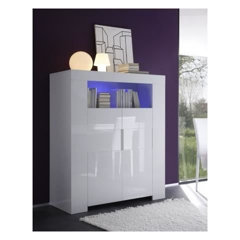 buffet haut blanc laque a led rocco 120 cm achat vente buffet bahut buffet haut blanc. Black Bedroom Furniture Sets. Home Design Ideas