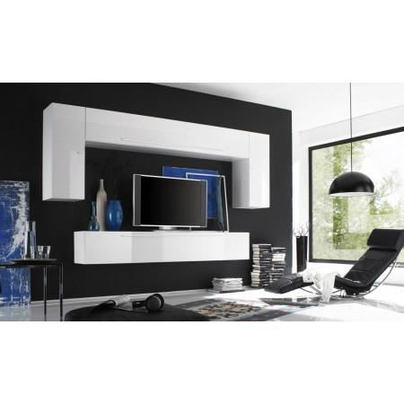 Ensemble meuble tv murale blanc laqu rocco achat - Meuble multimedia design ...