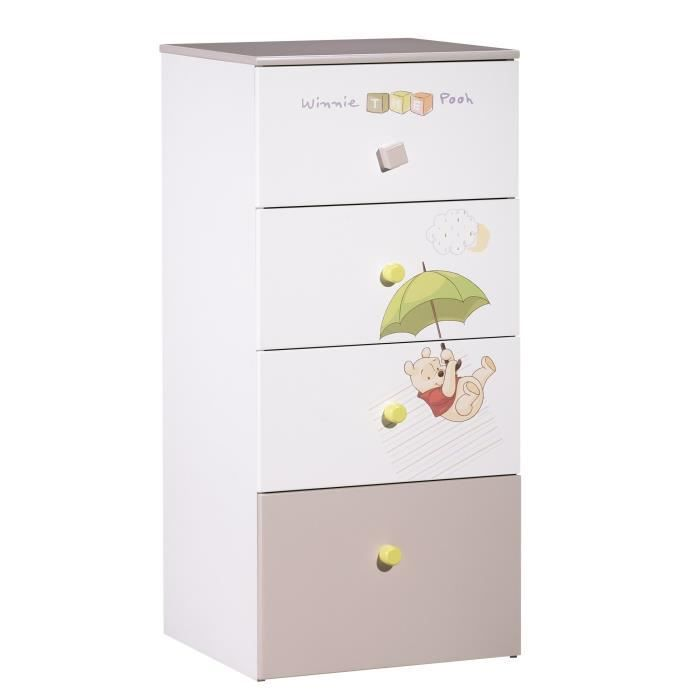 winnie l 39 ourson chiffonnier 4 tiroirs gris blanc et gris. Black Bedroom Furniture Sets. Home Design Ideas