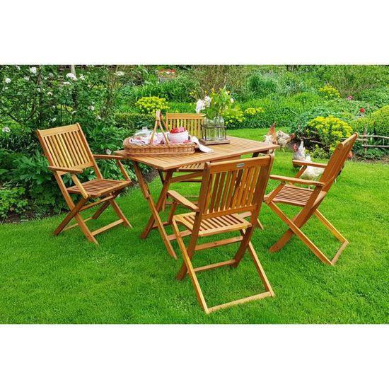 Deuba | Ensemble de Jardin 4+1 • en Bois d\'acacia certifié FSC® • Sydney •  1 Table et 4 chaises Pliables | Salon de Jardin