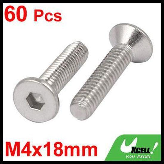 sourcing map M4x14mm affleurant acier inox 304 vis /à six pan creux DIN7991 60pc attaches