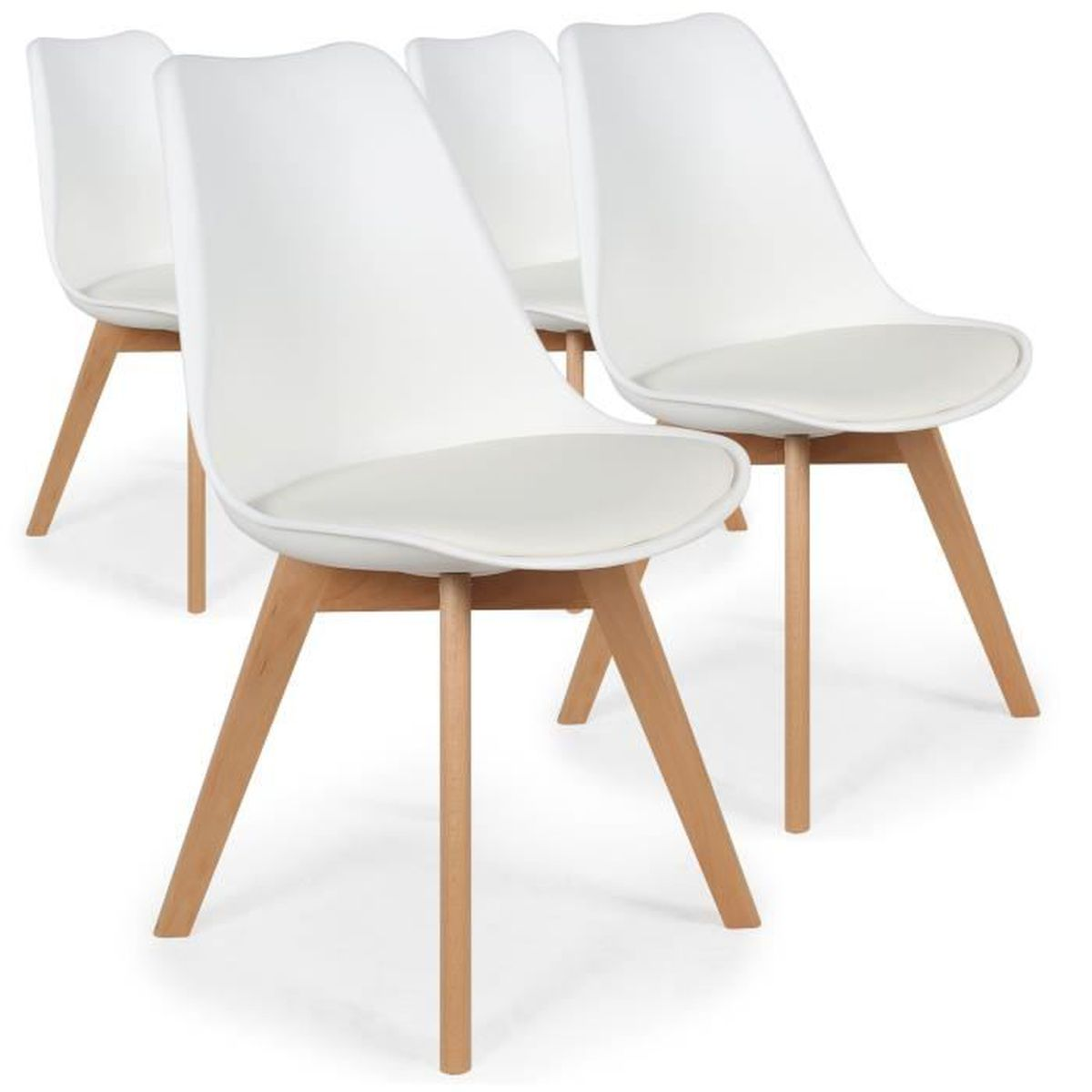 CHAISE Chaise - Lot de 4 chaises style scandinave Bovary