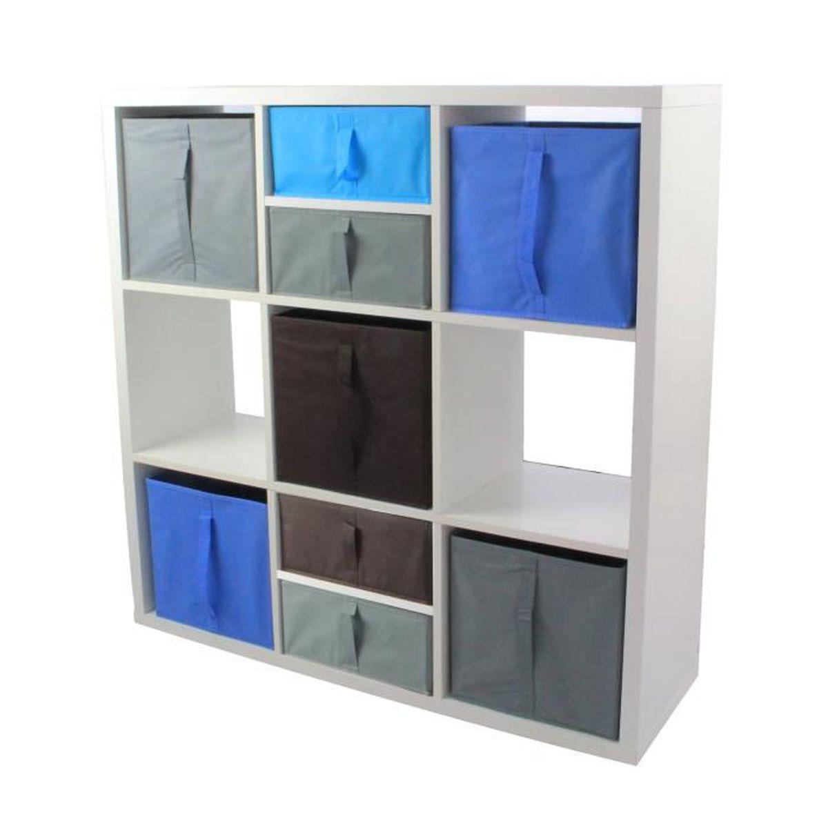 MEUBLE ÉTAGÈRE COMPO Meuble de Rangement 9 Cases + 5 Cubes + 4 De