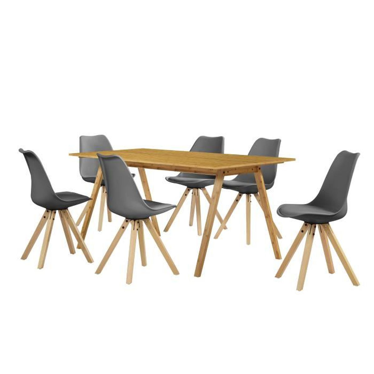Table manger bambou avec 6 chaises gris for Table a manger 6 chaises