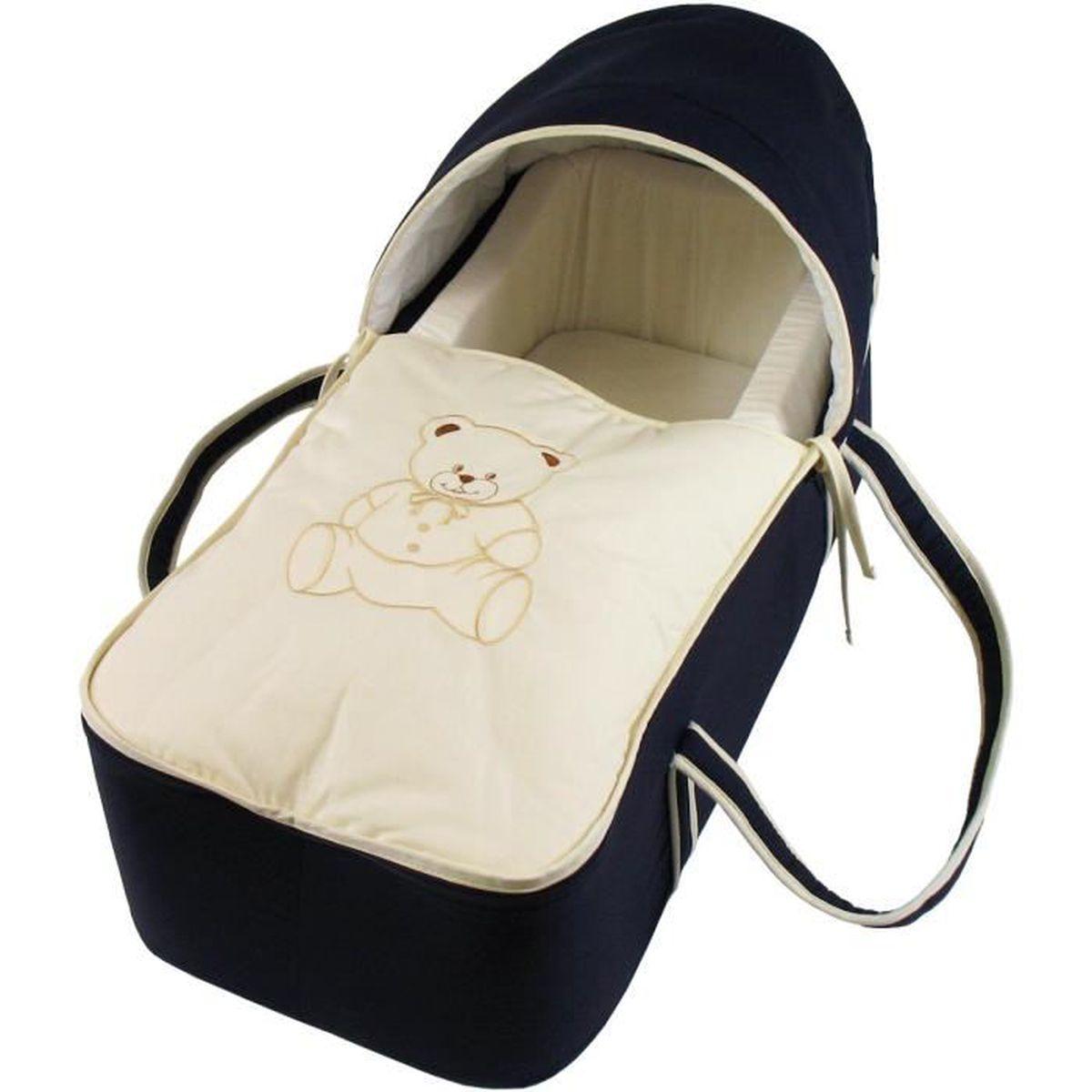 COUFFIN ET SUPPORT Couffin pour bébé bleu nuit et beige - Motif Nouno