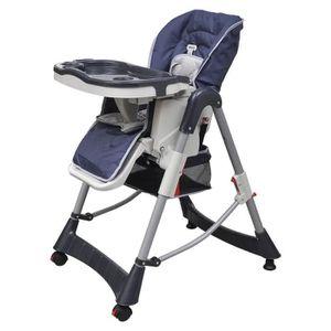 CHAISE HAUTE  Chaise haute bébé hauteur réglable deluxe bleu fon