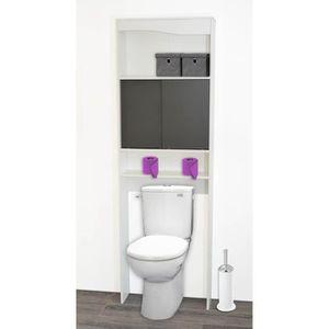 ARMOIRE DE TOILETTE Meuble WC taupe en bois avec 2 portes coulissantes