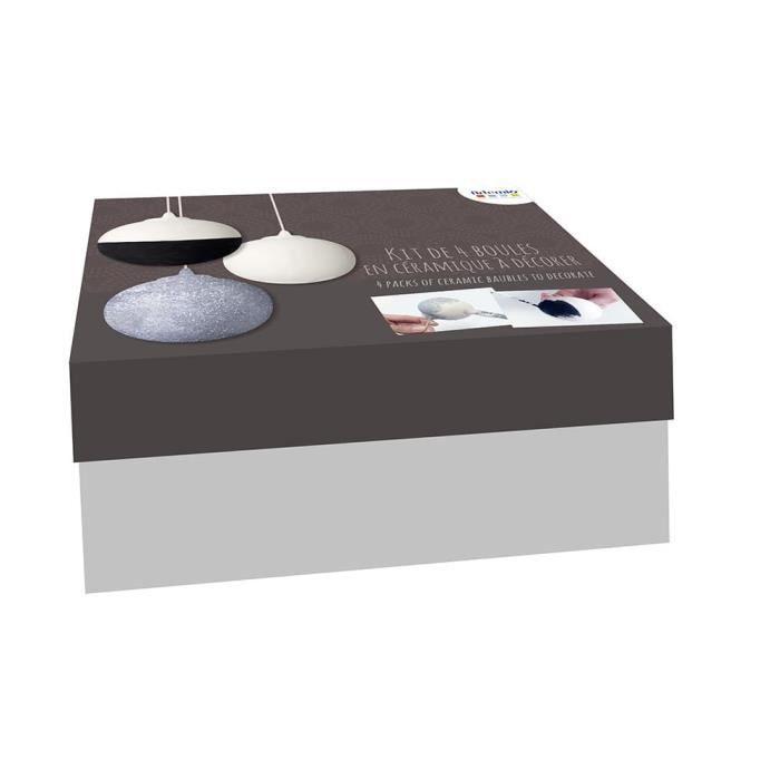 Kit 4 Boules de Noel en Céramique 8cm - Artémio {couleur}