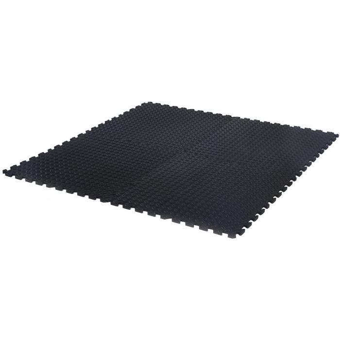 DREAMADE Tapis de Protection de Sol Tapis de Puzzle de Sports 12 Dalles Feuille en Mousse EVA sans Goût et Non-Toxique Noir