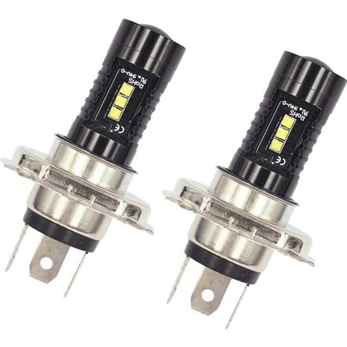 2pcs Ampoule H4 LED, 1200LM Phares pour Voiture 360° Lampe LED Auto 6000K Blanc 12V 60W IP68 Imperméable Remplace Lampes