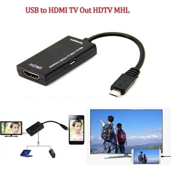 Mini Micro USB MHL HDMI TV ADAPTER CABLE CONNECTEUR pour Samsung Galaxy S2--DQ FRANCE