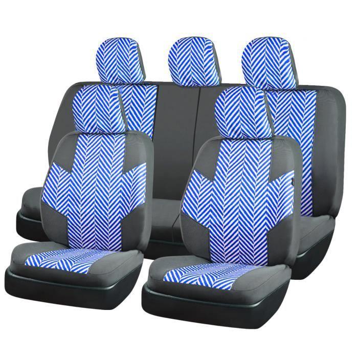 CAR PASS Housse siège auto universelle en Ramie Cotton,Avec trous d'ouverture pour le repose-tête et la ceinture de sécurité, bleu