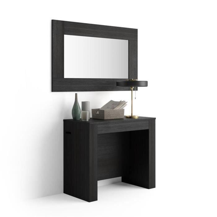 Mobili Fiver, Table Console Extensible avec rallonges intégrées, Easy, Frêne noir, Mélaminé/Aluminium, Made in Italy