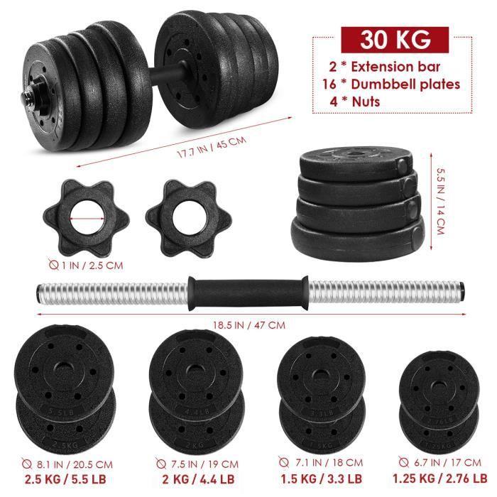 Lot de 2 Haltère Haltères Haute Qualité Ajustable Sécurité et Antidérapant Gym Exercices Outils Poids 30 KG
