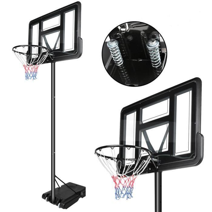 DOMICILE Panier de Basket TransparentRéglable en Hauteur sur Pied avec Roulettes 205-310cm