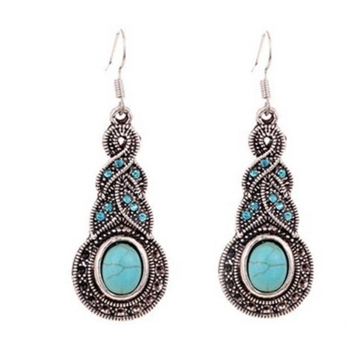 Design unique rétro bijoux turquoise strass Boucles d'oreilles FJJ50928507