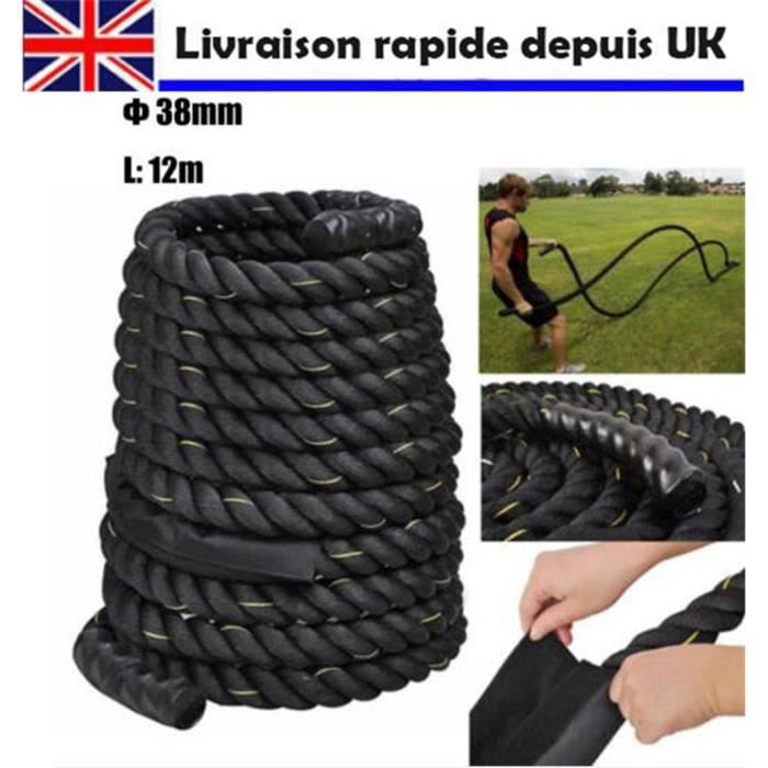 38mm 12m Câble Corde d'Entraînement Bataille Formation Puissance Exercice Fitness Bootcamp