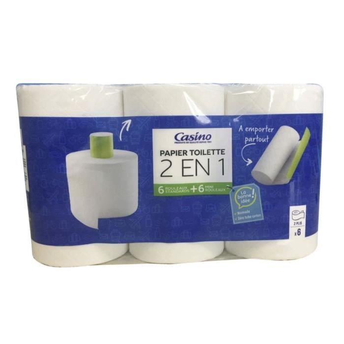 CASINO Lot de 6 Rouleaux de Papiers Toilette Sans Mandrin