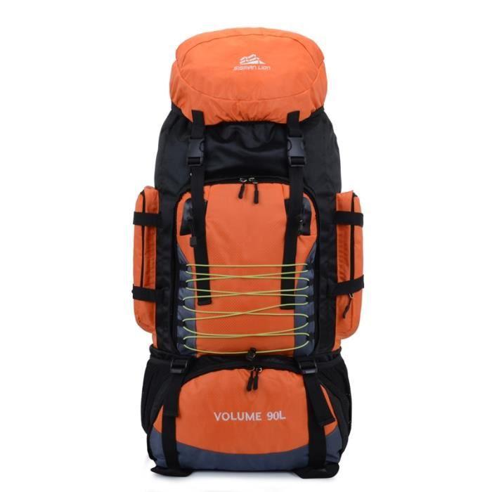 Orange -90L sacs à dos armée sac de randonnée Trekking voyage alpiniste sac à dos 90L grande capacité sac de Sport en plein air sac