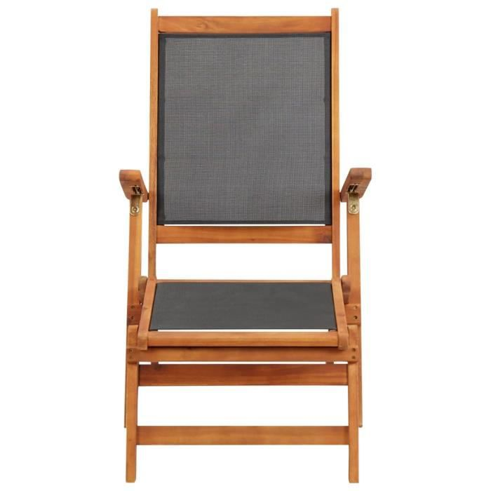 Déco Bain de Soleil Transat de jardin - Chaise longue Bois d'acacia solide et textilène - 12070
