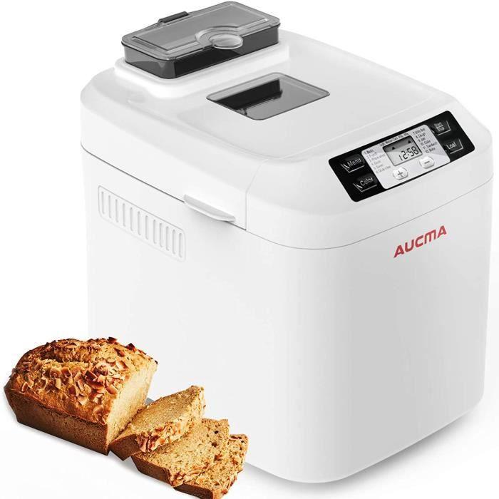 AUCMA Machine à Pain 12 Programmes (Programmes sans Gluten, Brioche, Pâtes, Confiture),Brunissage réglable,écran LCD,sans BPA[Classe