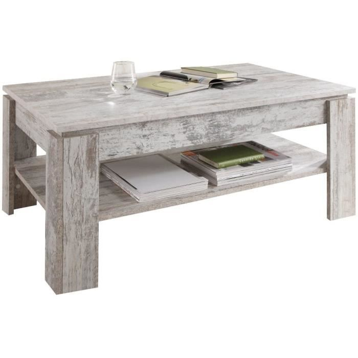 Maisonnerie 1100-112-68 Table Basse M&eacutelamin&eacute Style Shabby Chic-R&eacutetro Canyon Pin Blanc LxLxH 110 x 65 x 47 cm