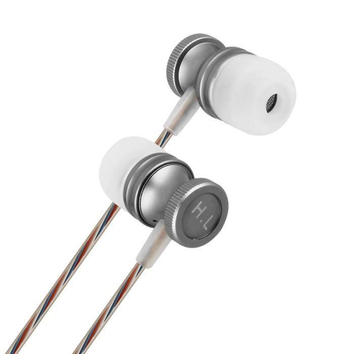 Écouteurs Filaires Intra-auriculaires Bouton multifonctions Micro intégré Argent